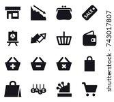 16 vector icon set   shop ... | Shutterstock .eps vector #743017807
