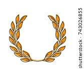 laurel decoration branch... | Shutterstock .eps vector #743026855