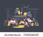 group of friends sitting by... | Shutterstock .eps vector #743036035