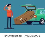 confused man failed to load... | Shutterstock .eps vector #743036971
