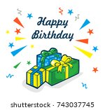happy birthday vector... | Shutterstock .eps vector #743037745