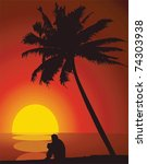 a man and a palm tree at sunset.   Shutterstock .eps vector #74303938