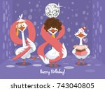 two goose holding the number 98....   Shutterstock .eps vector #743040805