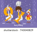 two goose holding the number 91....   Shutterstock .eps vector #743040829