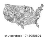 floral usa map for design... | Shutterstock .eps vector #743050801