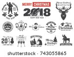 merry christmas and happy new... | Shutterstock .eps vector #743055865