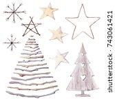 watercolor christmas... | Shutterstock . vector #743061421