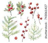watercolor christmas... | Shutterstock . vector #743061427