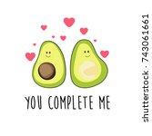 Romantic Cartoon Avocado...
