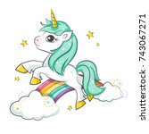 cute magical unicorn and... | Shutterstock .eps vector #743067271