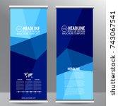 blue roll up business...   Shutterstock .eps vector #743067541