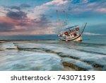 the shipwreck   Shutterstock . vector #743071195