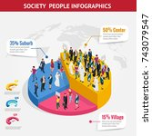 infographic society isometric... | Shutterstock .eps vector #743079547