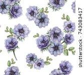 watercolor seamless pattern of... | Shutterstock . vector #743083417