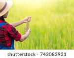 farmer woman  planter woman... | Shutterstock . vector #743083921