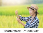 farmer woman  planter woman... | Shutterstock . vector #743083939