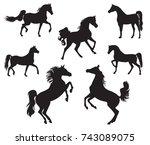 silhouettes of arabian horse | Shutterstock .eps vector #743089075