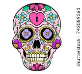 sugar skull with heart and... | Shutterstock .eps vector #743089261