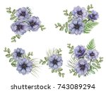 set of watercolor floral... | Shutterstock . vector #743089294