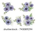 set of watercolor floral... | Shutterstock . vector #743089294