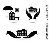 insurance blackl icons set... | Shutterstock .eps vector #743101975