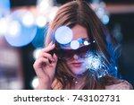 attractive young caucasian... | Shutterstock . vector #743102731