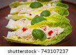 romaine lettuce leaf tuna salad ... | Shutterstock . vector #743107237