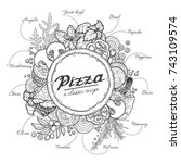 pizza and ingredients   black... | Shutterstock .eps vector #743109574