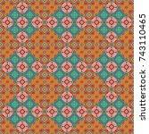 tiles orange  green and pink... | Shutterstock . vector #743110465