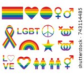 lgbt related symbols set in... | Shutterstock .eps vector #743114485