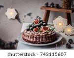 chocolate christmas cake... | Shutterstock . vector #743115607