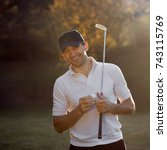the golfer is laughing with... | Shutterstock . vector #743115769