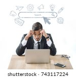 portrait of tired businessman...   Shutterstock . vector #743117224