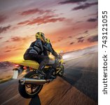 motorbikers on sports motorbike ... | Shutterstock . vector #743121055