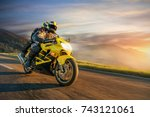 motorbikers on sports motorbike ... | Shutterstock . vector #743121061