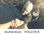 adventurers helping each other... | Shutterstock . vector #743121925
