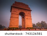 india gate with blue sky  new... | Shutterstock . vector #743126581