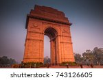 india gate with blue sky  new...   Shutterstock . vector #743126605