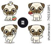 character design of pug   cute... | Shutterstock .eps vector #743131891