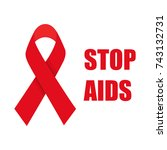 stop aids. aids awareness red... | Shutterstock . vector #743132731