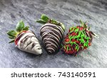 chocolate strawberry over a... | Shutterstock . vector #743140591