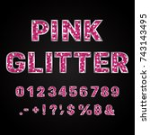 pink glitter alphabet numbers...   Shutterstock .eps vector #743143495