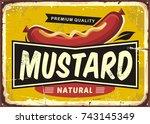 mustard promotional retro label ... | Shutterstock .eps vector #743145349