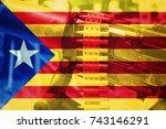 catalonia spain conflict... | Shutterstock . vector #743146291
