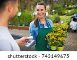 paying with credit card at... | Shutterstock . vector #743149675
