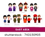 asians in national clothes.... | Shutterstock .eps vector #743150905