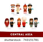 asians in national clothes.... | Shutterstock .eps vector #743151781