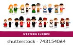 Europeans in national clothes. Western Europe. Set of cartoon characters in traditional costume. Cute people. Vector flat illustrations.