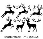black silhouettes of deers and... | Shutterstock .eps vector #743156065