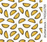seamless doodle pattern.... | Shutterstock .eps vector #743161705